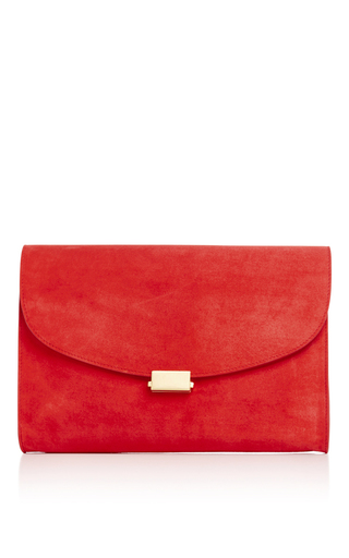 Medium mansur gavriel red red suede envelope flat clutch