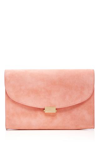 Medium mansur gavriel light pink coral suede envelope flat clutch