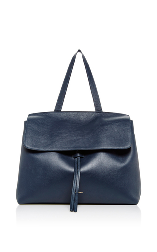 Medium mansur gavriel blue navy calf leather lady bag