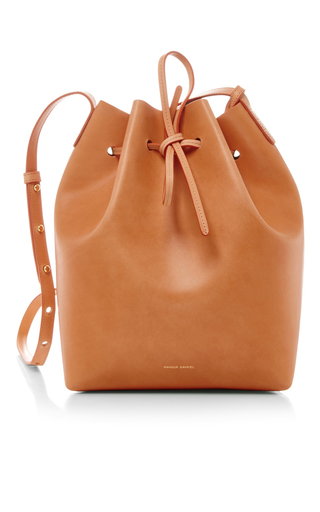 Medium mansur gavriel tan tan leather large bucket bag with silver interior