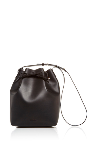 Medium mansur gavriel black black leather large bucket bag with gold interior