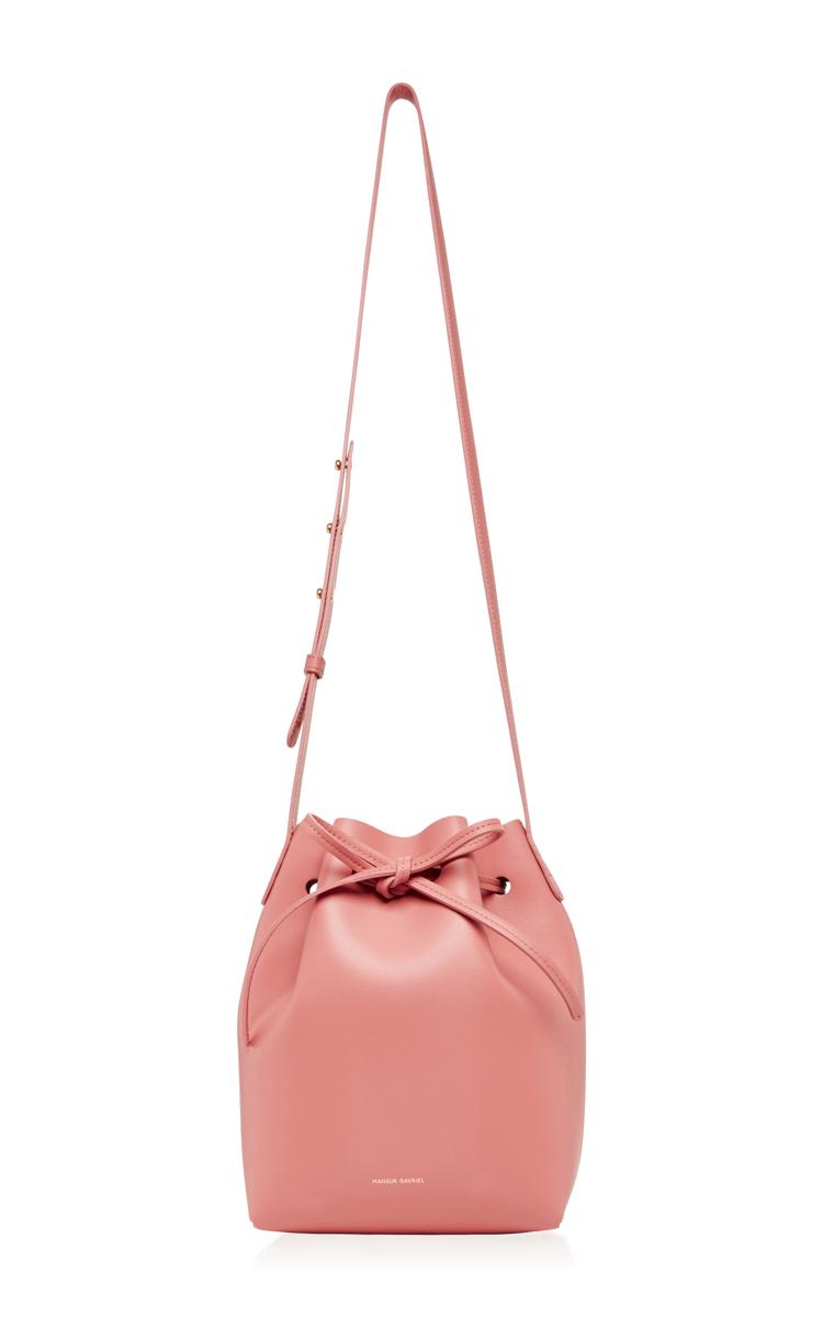 Blush Calf Leather Mini Bucket Bag By Mansur Gavriel