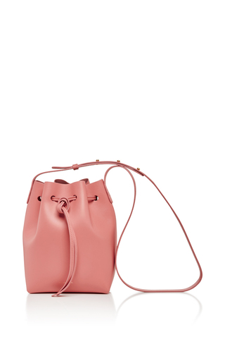 Medium mansur gavriel light pink blush calf leather mini bucket bag