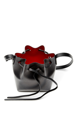 Black Leather Mini Mini Bucket Bag  by MANSUR GAVRIEL Now Available on Moda Operandi