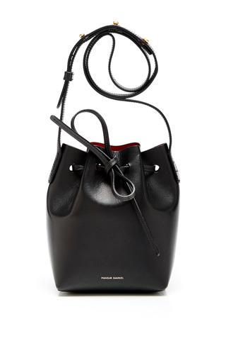 Medium mansur gavriel black black calf leather mini bucket bag with red interior