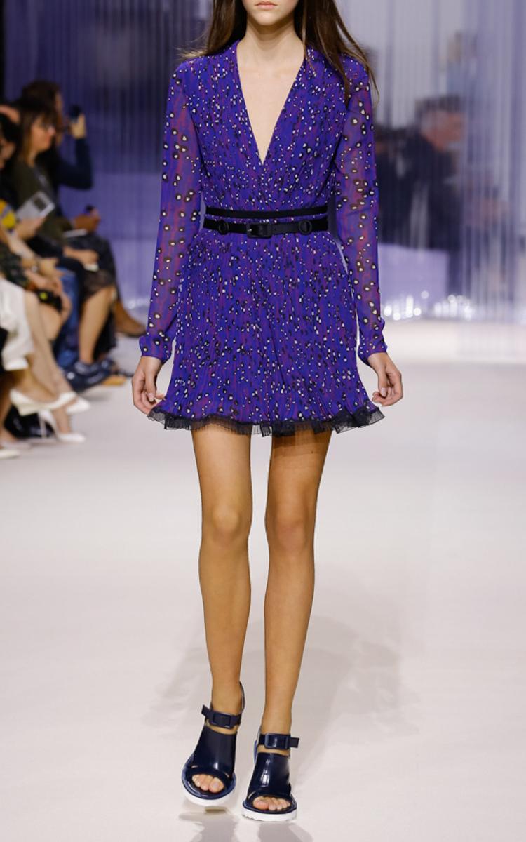 Long Sleeve Pleated Georgette Dress by Carven | Moda Operandi