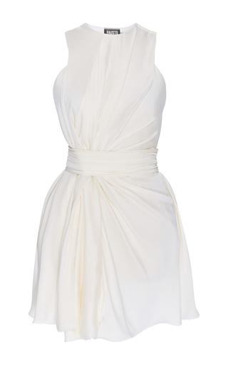 Medium fausto puglisi off white silk draped mini dress