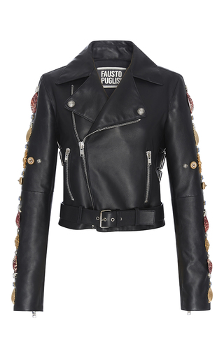 Medium fausto puglisi black cropped leather biker jacket