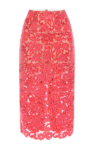 Medium marco de vincenzo red rosso fuxia embroidered lace pencil skirt