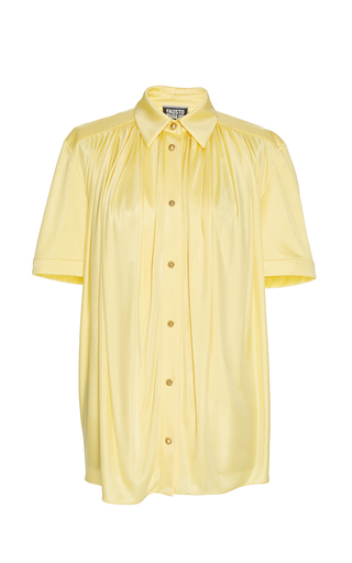 Medium fausto puglisi turquoise yellow short sleeve button up shirt