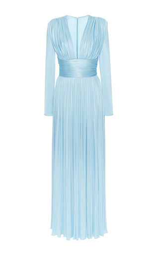 Medium fausto puglisi light blue long sleeve plunging gown