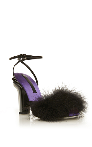 Medium marco de vincenzo black black feather top sandal