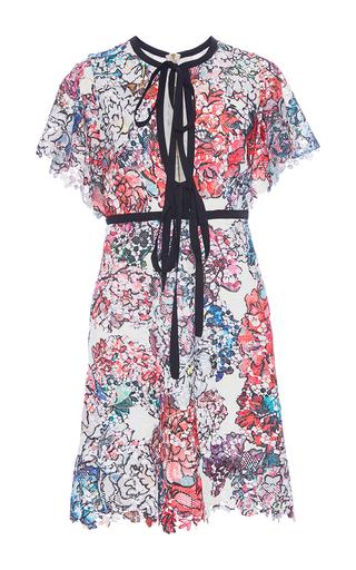 Medium elie saab print flounce sleeve guipure lace dress