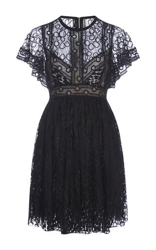 Medium elie saab black lace flounced sleeve dress