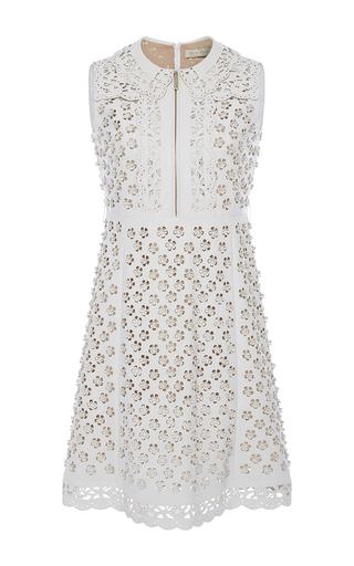 Medium elie saab white floral cutout leather dress