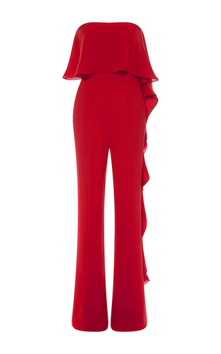 Medium elie saab red strapless stretch cady and silk georgette jumpsuit