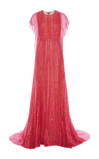 Medium elie saab pink embroidered tulle and silk georgette a line gown