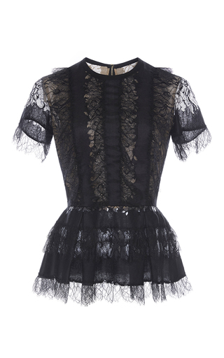 Medium elie saab black lace peplum top