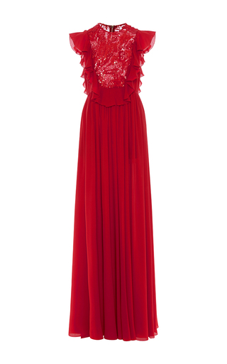 Medium elie saab red embroidered tulle and silk georgette ruffle gown