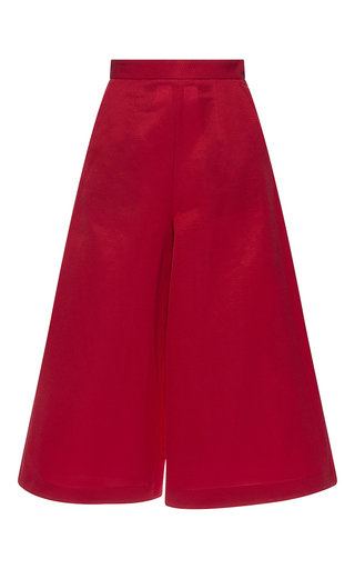 Medium msgm red red faille cropped trousers