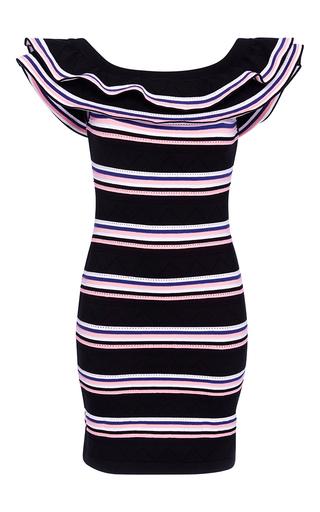 Medium msgm black striped jacquard knit ruffled dress