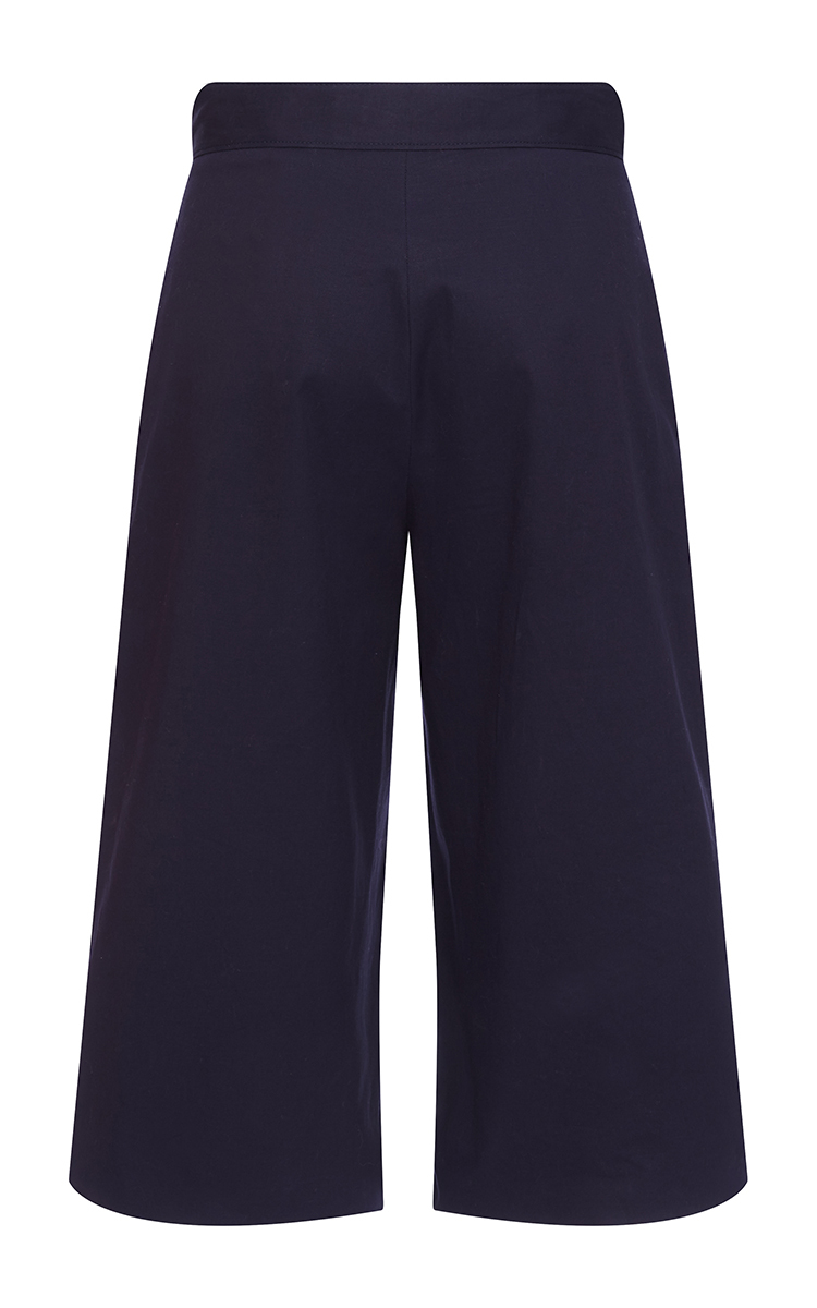 Navy Cotton Satin Cropped Trousers by MSGM  ed9ae5157d4