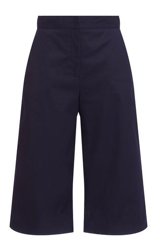 Medium msgm navy navy cotton satin cropped trousers