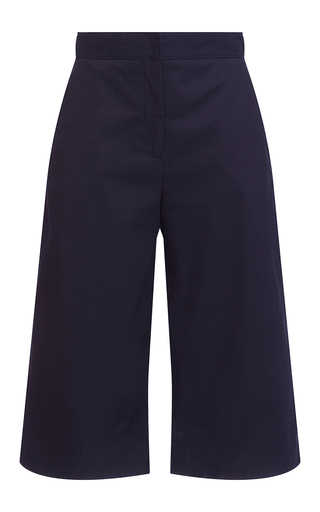 Medium msgm navy navy cotton satin cropped trousers