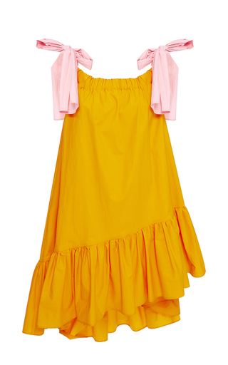 Medium msgm orange crisp poplin strapless dress with pink ties