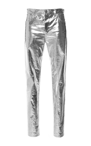 Medium isabel marant silver metallic cotton jada trousers