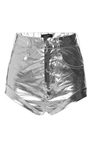 Medium isabel marant silver metallic cotton jaylin shorts