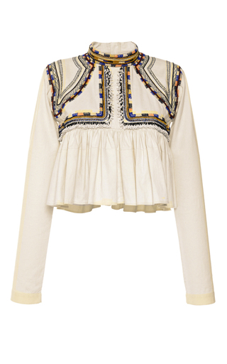 Medium isabel marant off white embroidered cotton twill sachi top  2