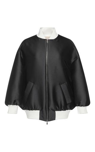 Medium vika gazinskaya black silk bomber jacket