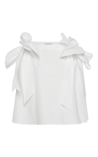 Medium vika gazinskaya white oversized cotton top with bow detail
