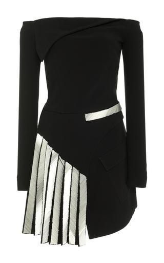 Medium mugler navy metal embellished off the shoulder long sleeve dress