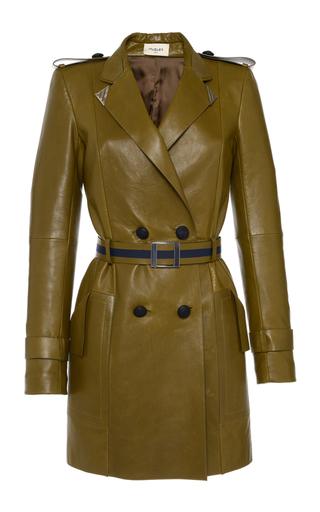 Medium mugler khaki double breasted leather coat