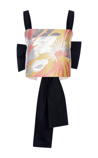 Lurex Cotton Silk Floral Top With Back Bow by ROCHAS Now Available on Moda Operandi