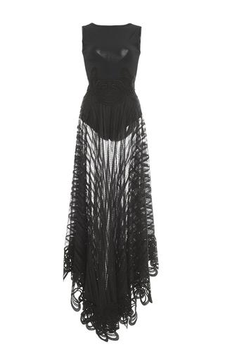 Medium antonio berardi black embroidered knit gown