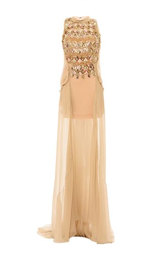 Medium antonio berardi tan deco embroidered silk chiffon gown