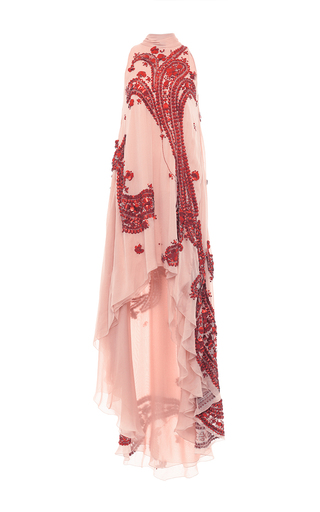 Medium antonio berardi pink patent leather embroidered chiffon asymmetric gown