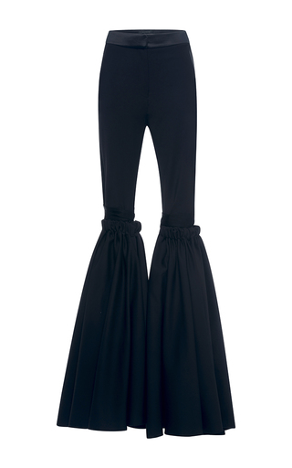 Medium ellery black rockface wide flare pant with overlay