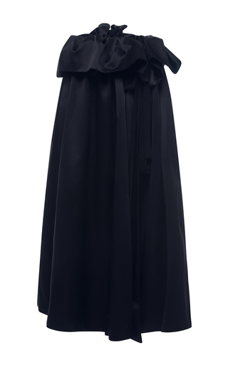 Medium ellery black silk satin impact apron skirt