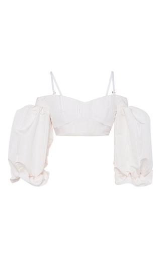 Medium alessandra rich white white silk moire bralet top