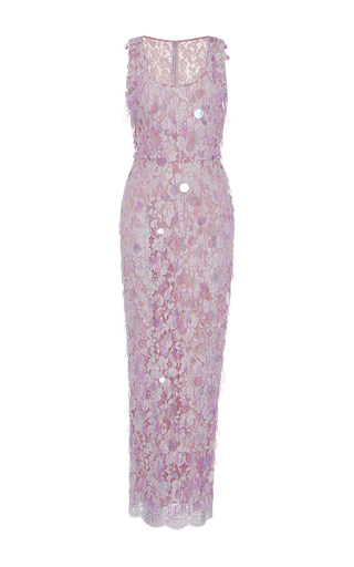 Medium alessandra rich pink paillette embroidered lace dress