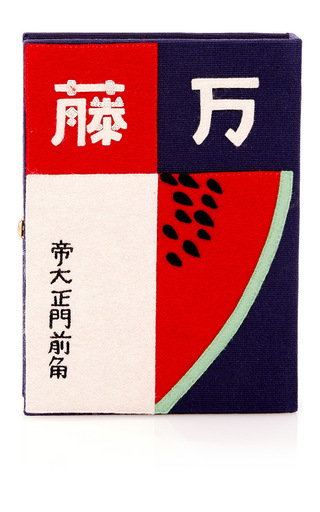 Medium olympia le tan navy watermelon book clutch