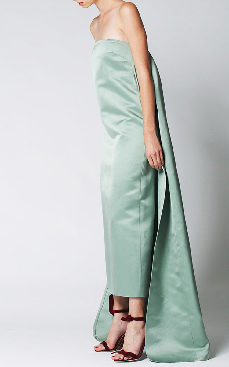 Watteau Pleat Column Gown by Katie Ermilio | Moda Operandi
