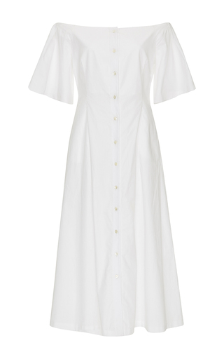 Medium katie ermilio white flounce sleeve shirt dress