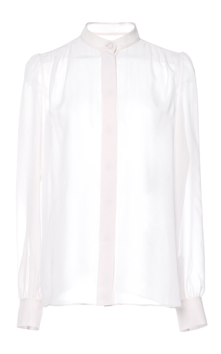 Medium giambattista valli pink pale pink silk long sleeve blouse