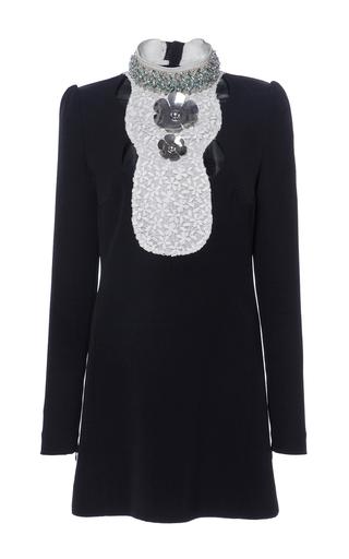 Medium giambattista valli black summer structured cady macrame bib dress