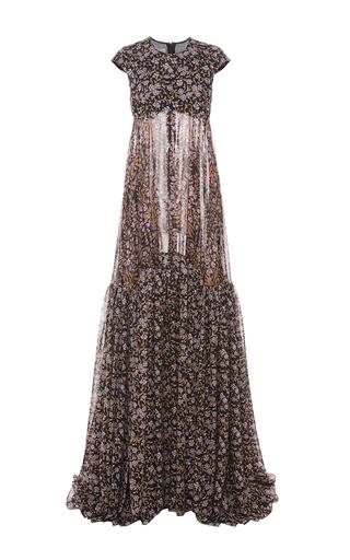 Medium giambattista valli floral silk georgette cap sleeve gown